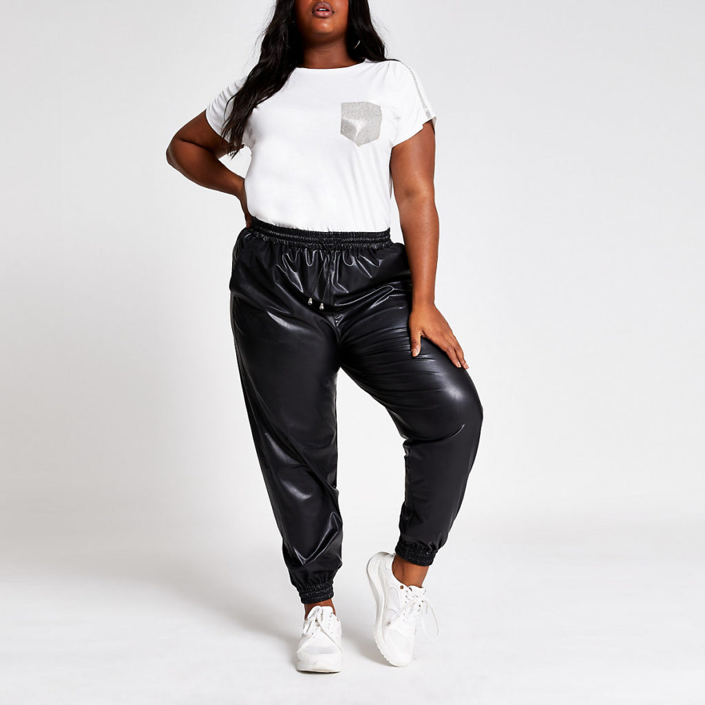 Plus black faux leather joggers $60.00
