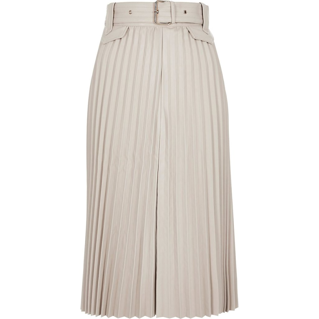 Cream pleated faux leather midi skirt $96.00