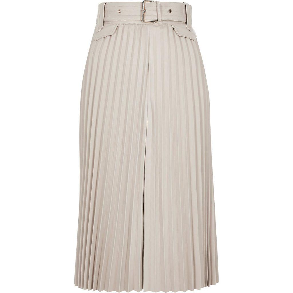 Cream pleated faux leather midi skirt $96.00