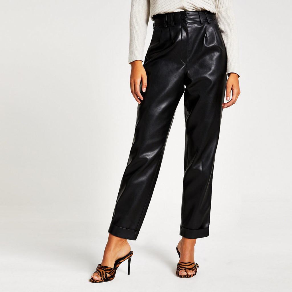 Black faux leather high waisted peg trousers $80.00
