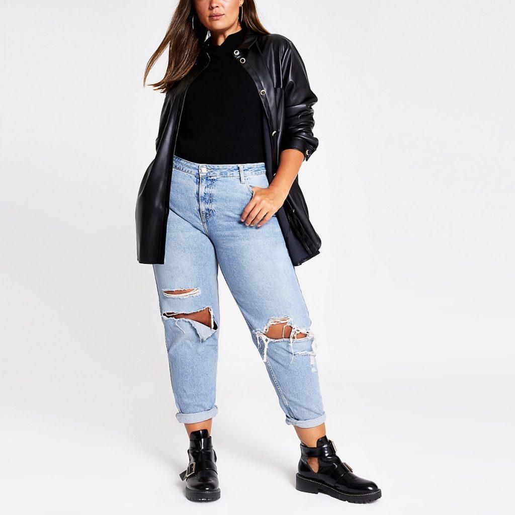 Plus black faux leather shirt $72.00