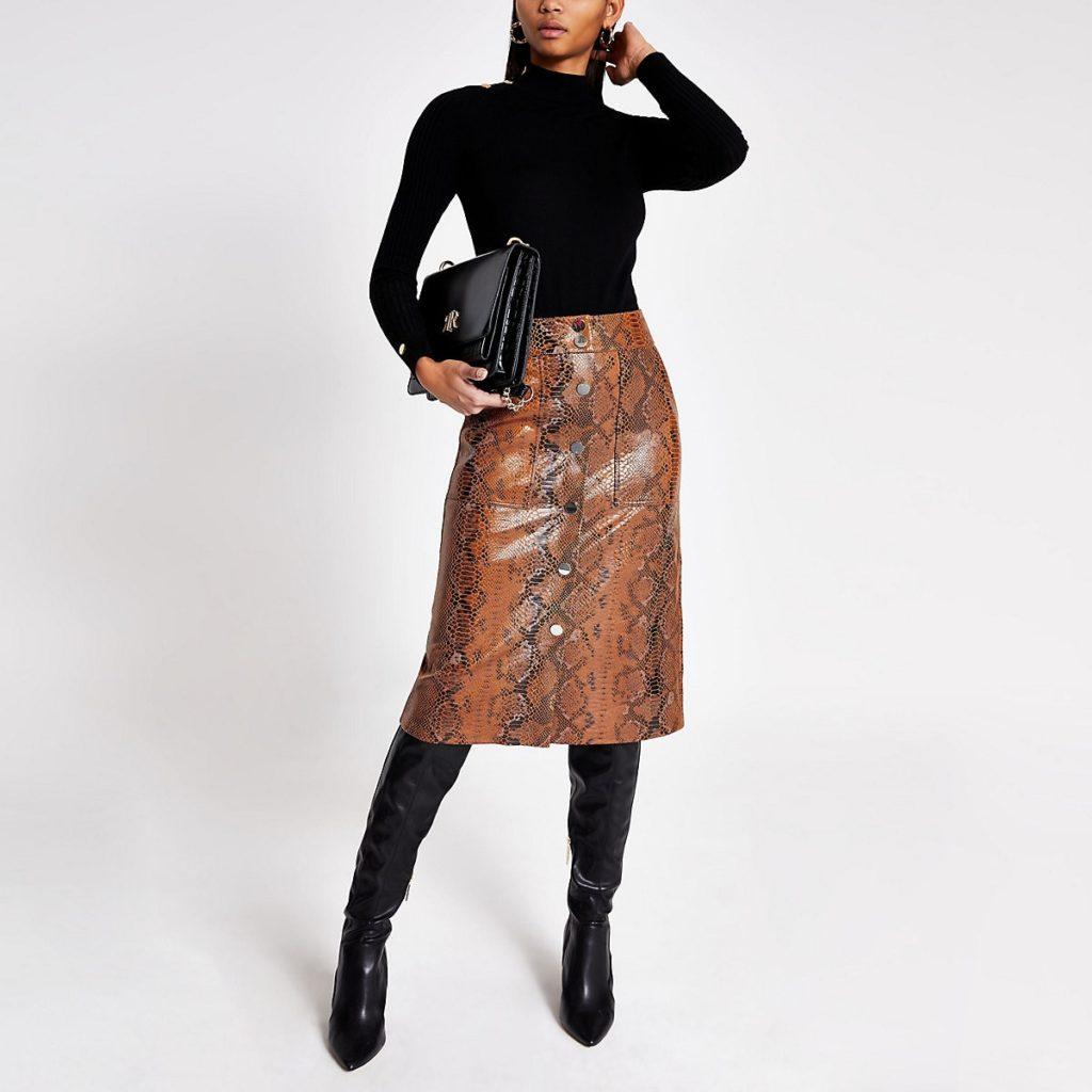 Brown faux leather snake print midi skirt $90.00