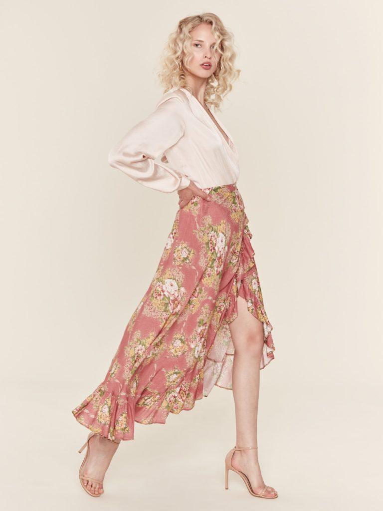 Auguste The Label Bonnie Cascade Wrap Skirt $149.00