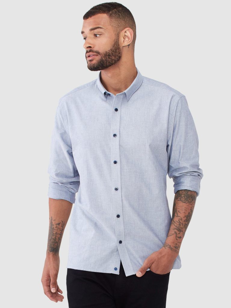 Vustra Oxford Chambray Button Up Shirt $90.00