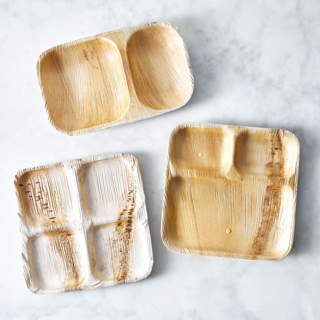 Compostable Multi-Compartment Plates from Fallen Leaves (Set of 25) $22–$29