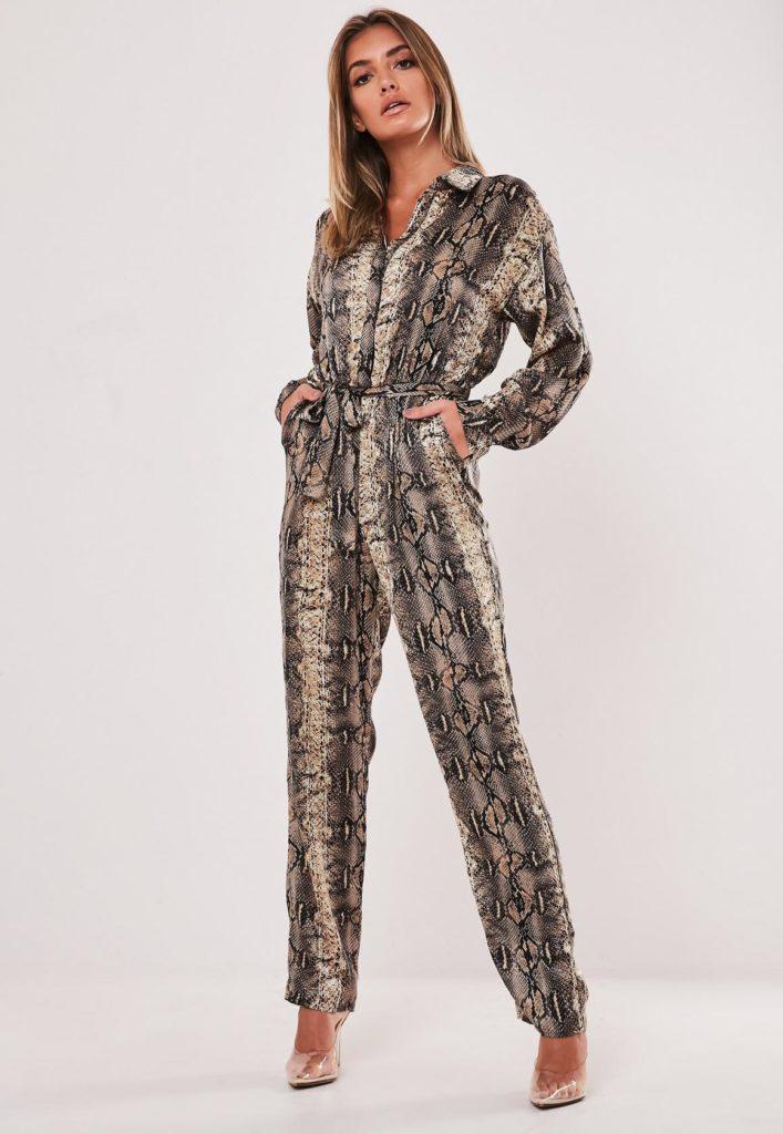 brown snake print satin shirt jumpsuit $54.00