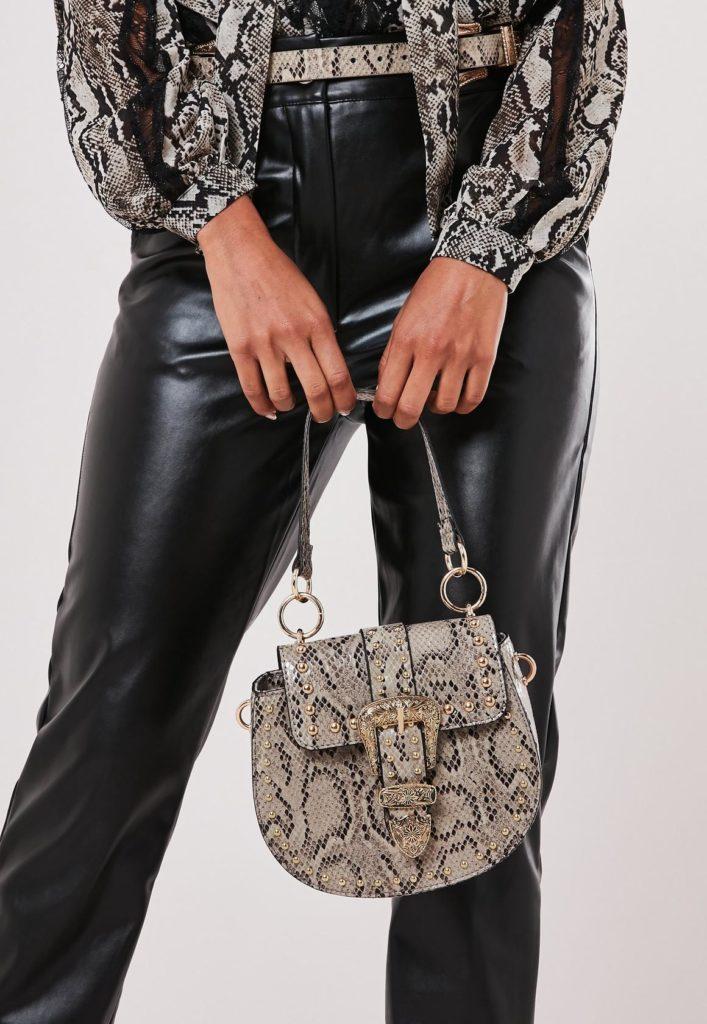brown snake print western buckle handbag $51.00
