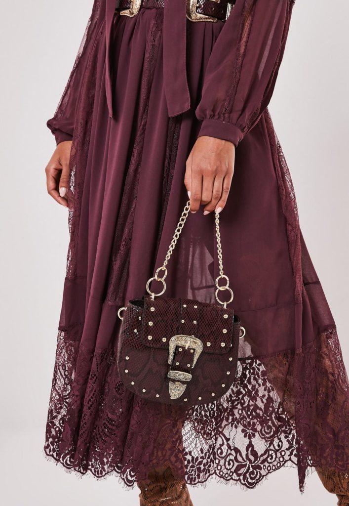 burgundy snake print western buckle handbag $51.00