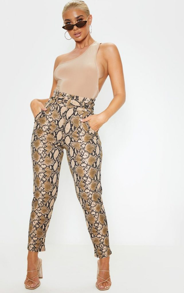 TAN SNAKE PRINT D RING BELTED SKINNY PANTS $32.00