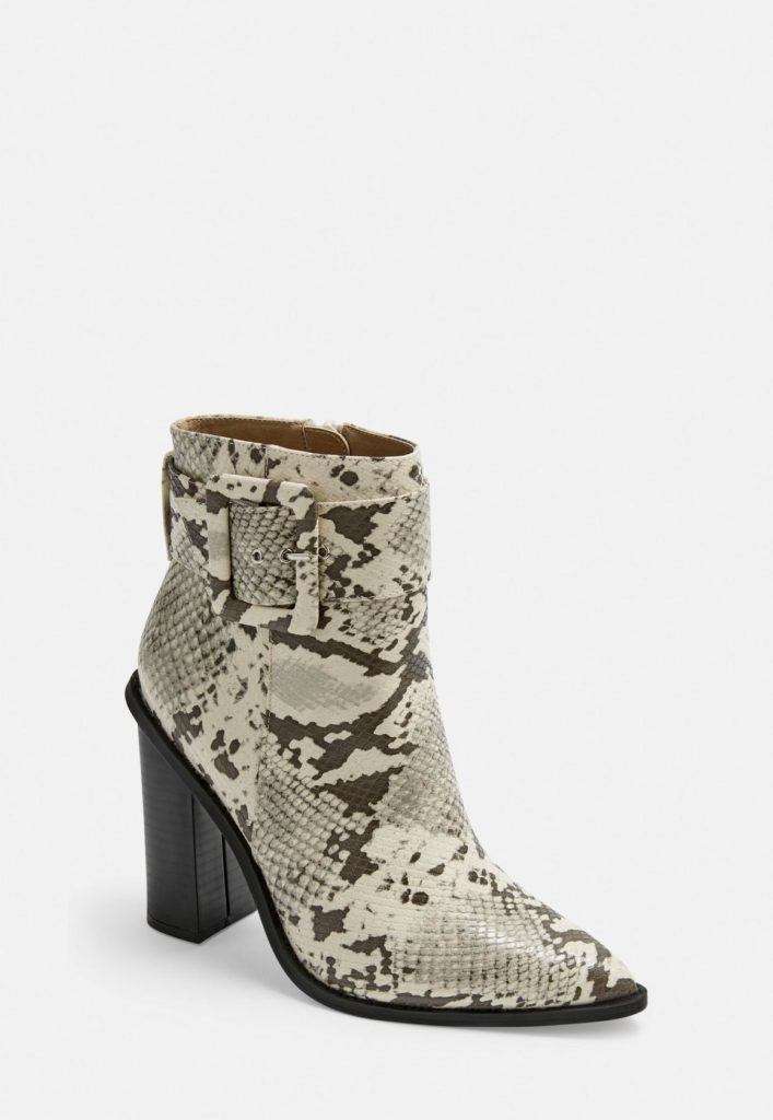 gray snake buckle block heel pointed ankle boots $68.00