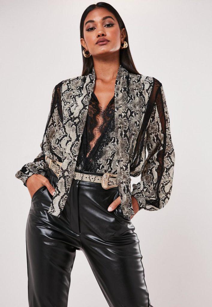 gray snake print chiffon lace trim bodysuit $54.00