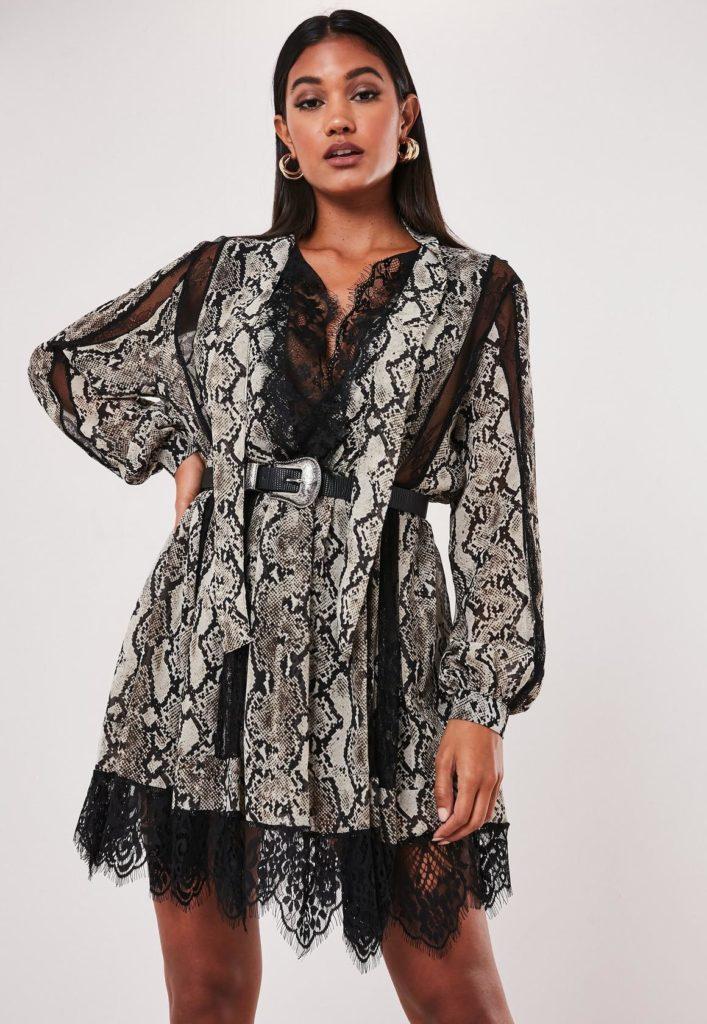 gray snake print chiffon lace trim mini dress $76.00