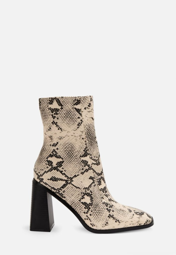 gray snake print square toe ankle boots $64.00