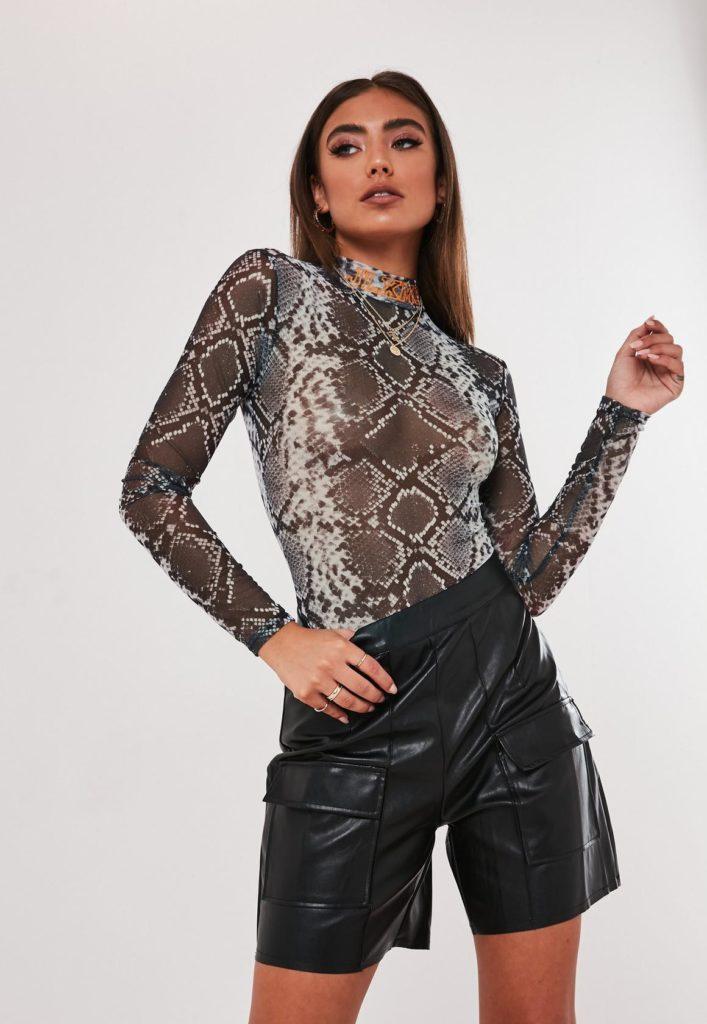 jordan lipscombe x missguided gray snake high neck mesh bodysuit $34.00