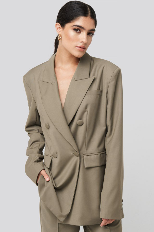 Straight Double Breasted Blazer Beige $83.95