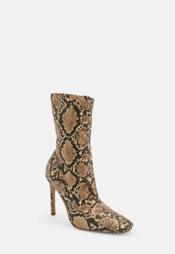 nude snake print square toe stiletto heel boots $59.00