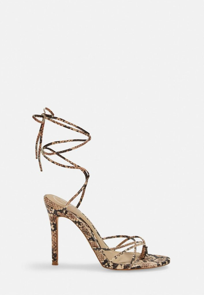 nude snake print strappy toe post heeled sandals $47.00