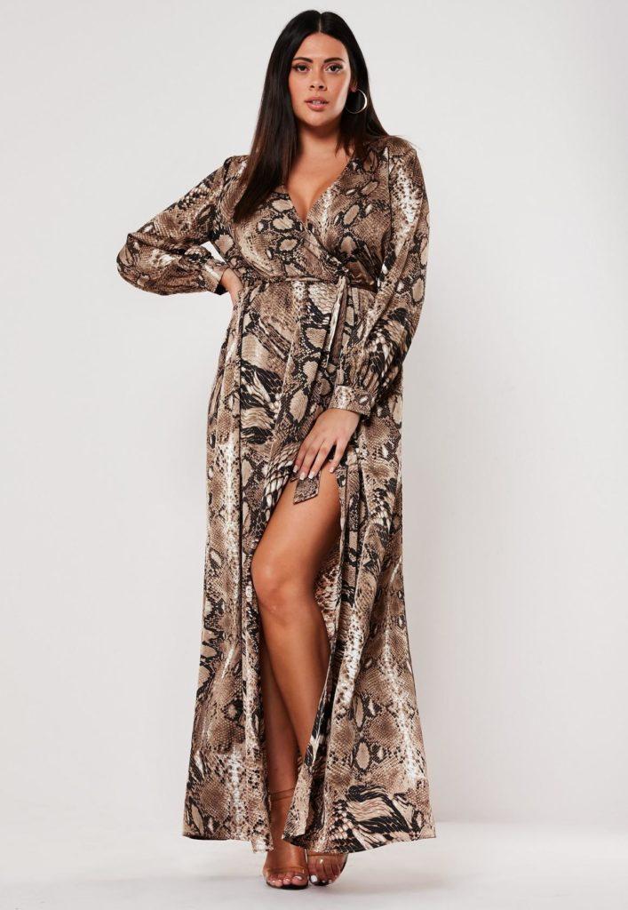plus size brown snake print plunge maxi dress $68.00