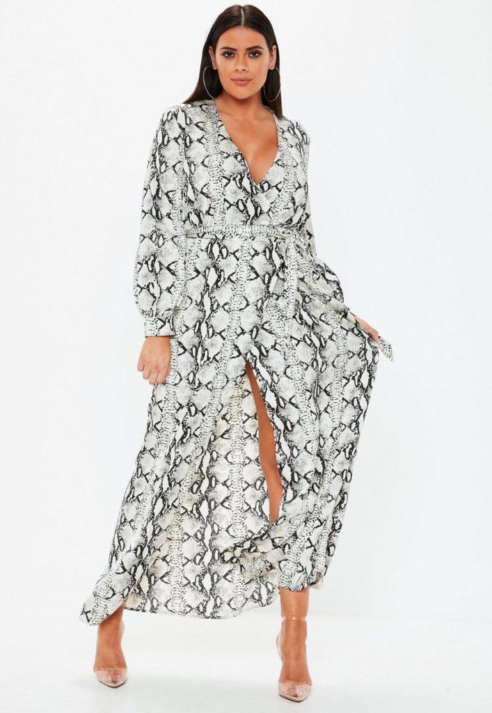 plus size grey snake print plunge maxi dress $68.00