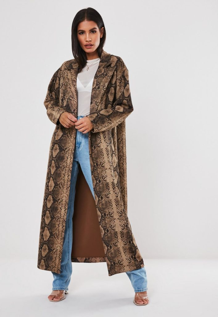 premium brown snake print faux suede trench coat $102.00