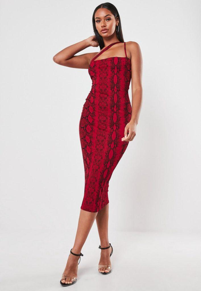 red snake print cross strap bodycon midi dress $25.00