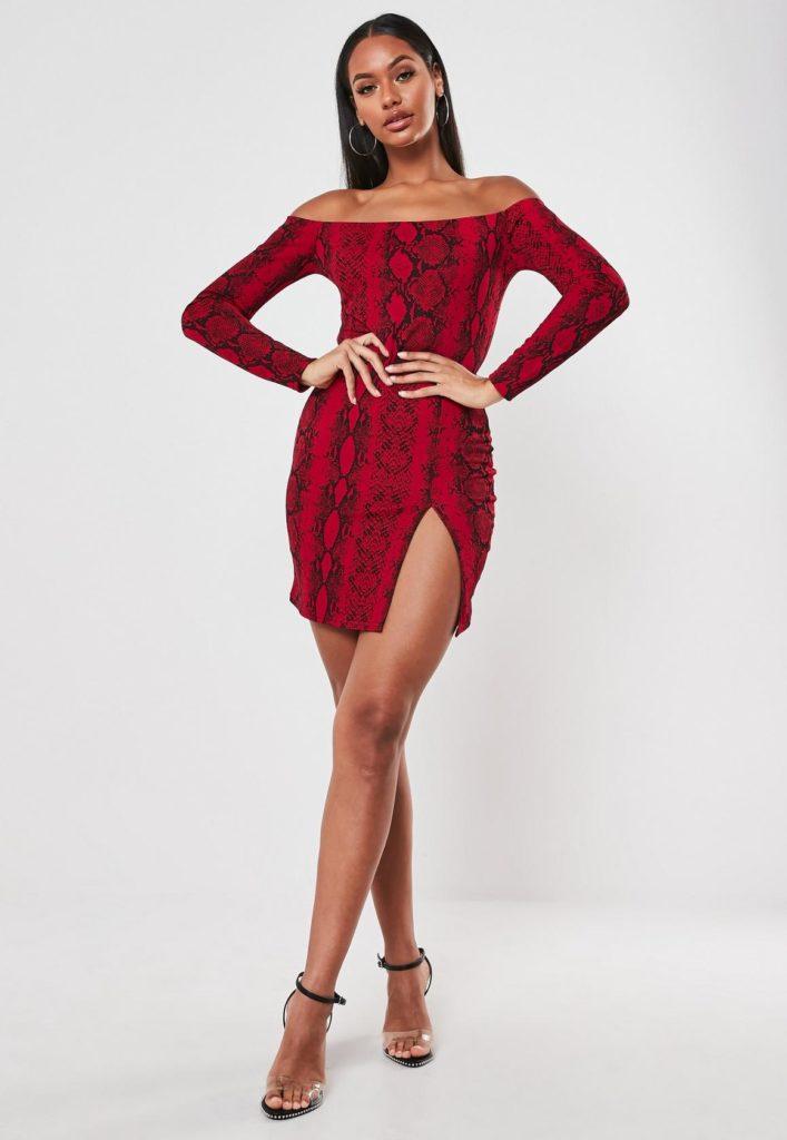 red snake print long sleeve bardot mini dress $20.00