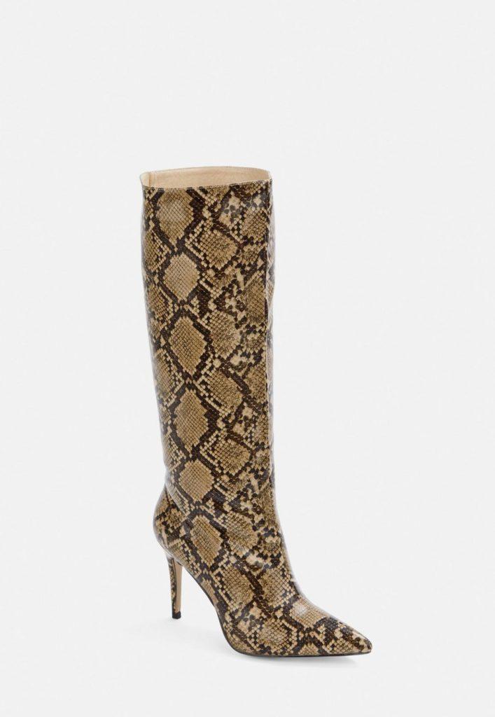 snake print mid heel knee high boots $85.00
