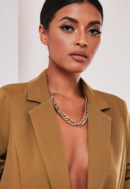 sofia richie x missguided gold look chunky t bar choker $34.00