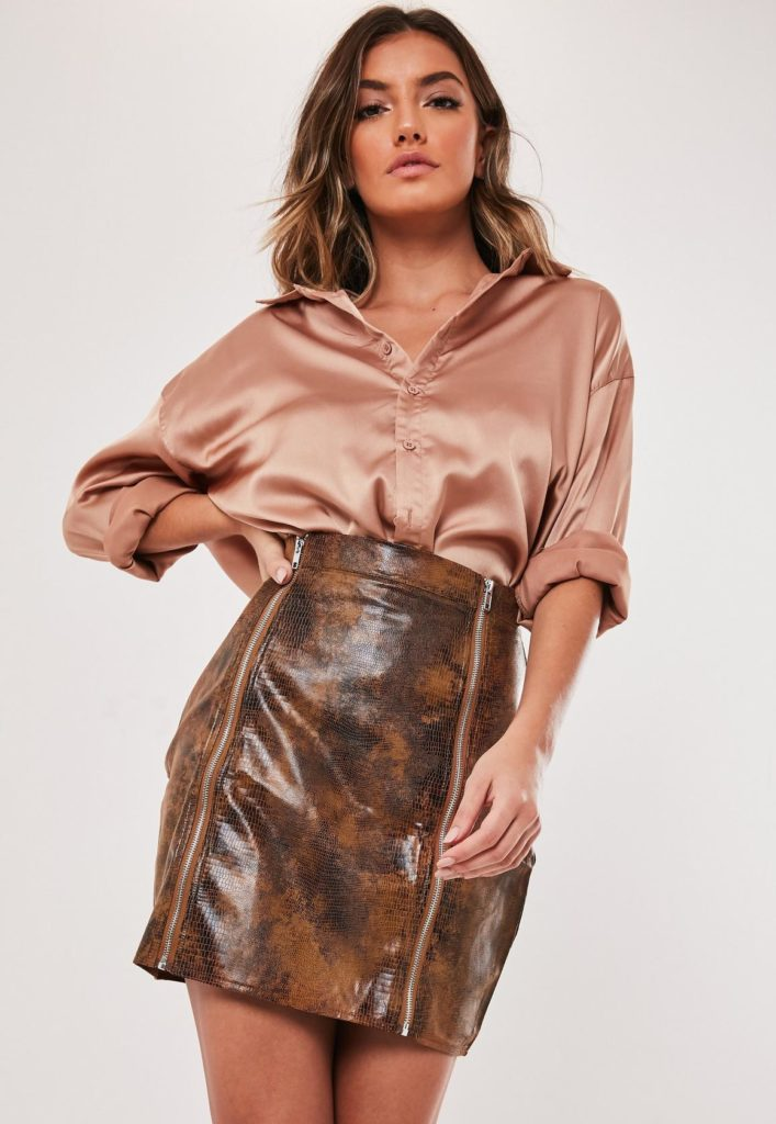 tall brown faux leather croc effect mini skirt $37.00