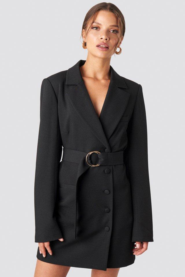 Oversized O-belted Blazer Dress Black $95.95