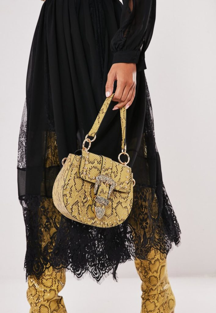 yellow snake print western buckle handbag $51.00