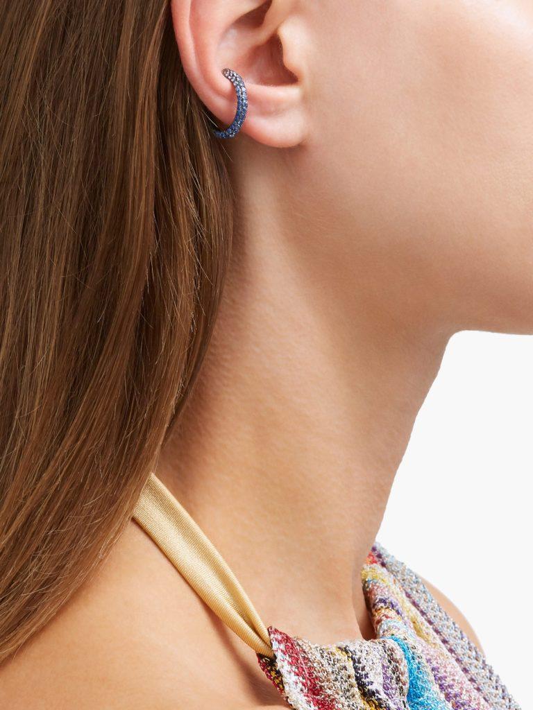 Orbital sapphire & rhodium-plated ear cuff$1,500