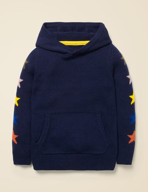 Star Knitted Hoodie -College Navy Stars $55.00