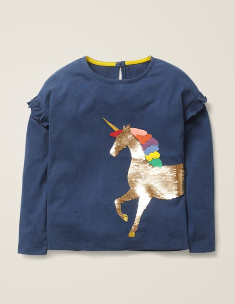 Colour-Change Sequin T-Shirt - College Blue Unicorn $20.40