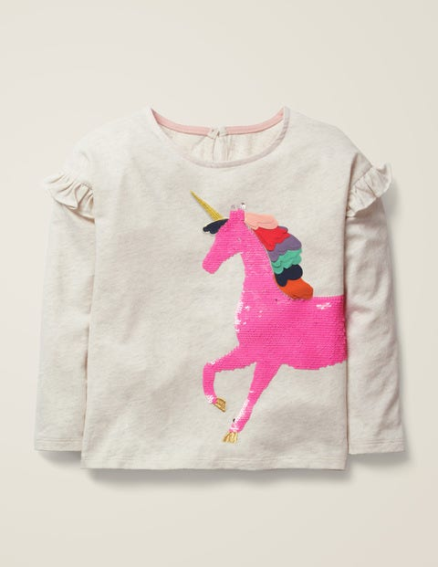 Colour-Change Sequin T-Shirt - Oatmeal Unicorn $17.00