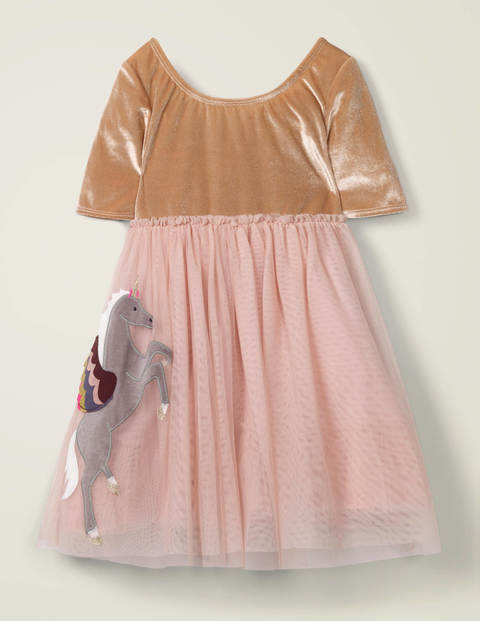 Velvet Appliqué Dress - Provence Dusty Pink Unicorn $33.00