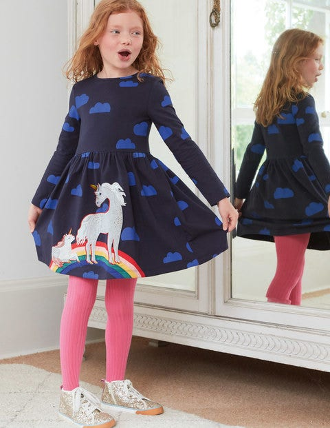 Printed Appliqué Dress - Navy Love Clouds Unicorns $45.00