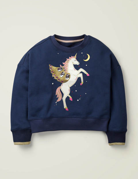 Embellished Sweatshirt - College Blue Unicorn $24.00