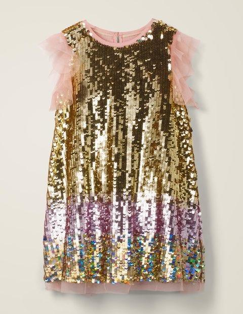 Sequin Flutter Sleeve Dress -Gold Ombré Sequins $47.50