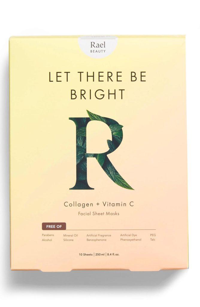 Let There Be Bright Collagen & Vitamin C Set of 10 Facial Sheet Masks RAEL $25.99