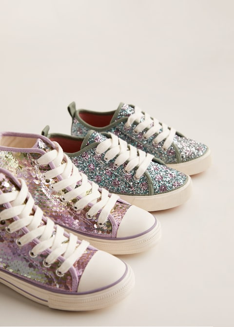 Lace-up glitter sneakers $22.99