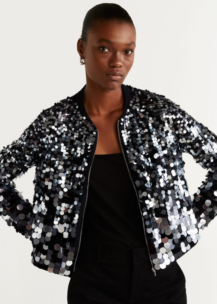 Sequined bomber $249.99