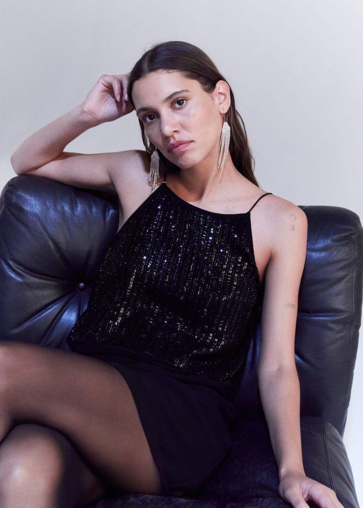 Sequin appliqué gown $119.99