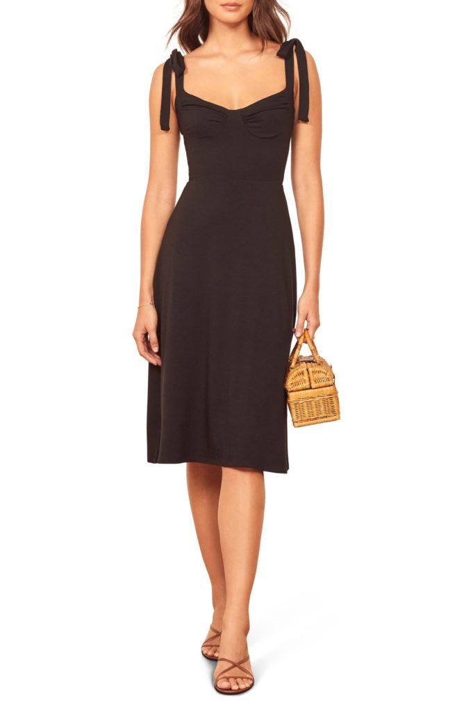 Wells Tie Shoulder Stretch Tencel®Lyocell Dress REFORMATION $82.60
