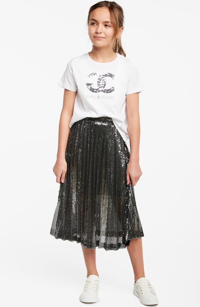 Sequin Pleated Skirt $94.99