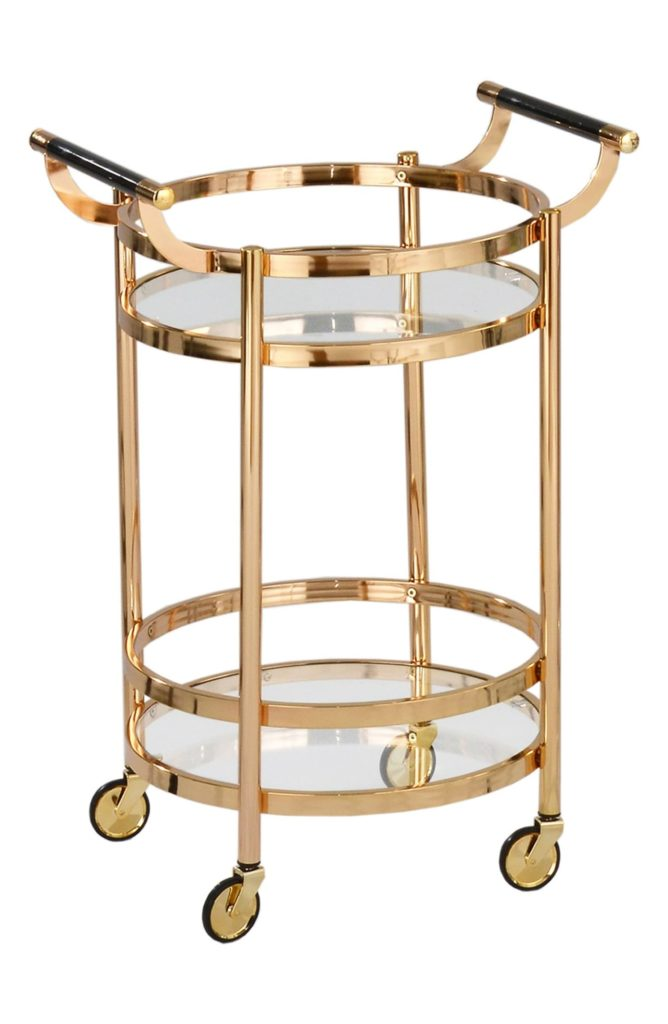 Small Round Wheeled Bar CartAMERICAN ATELIER $296.25