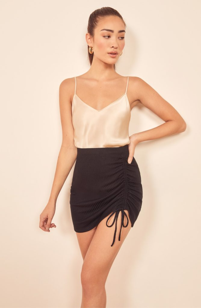 Ines Side Ruched Miniskirt REFORMATION$54.60