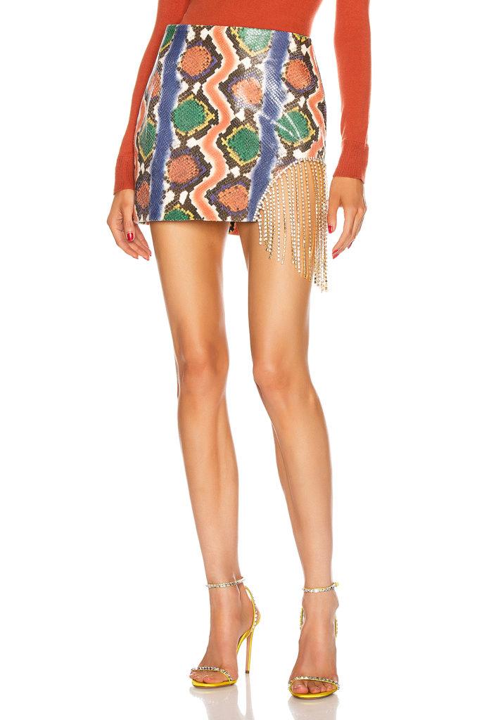 AREA Crystal Fringe Skirt $895