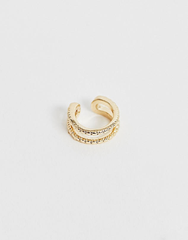 ASOS DESIGN ear cuff in double row engraved design in gold tone $6.50
