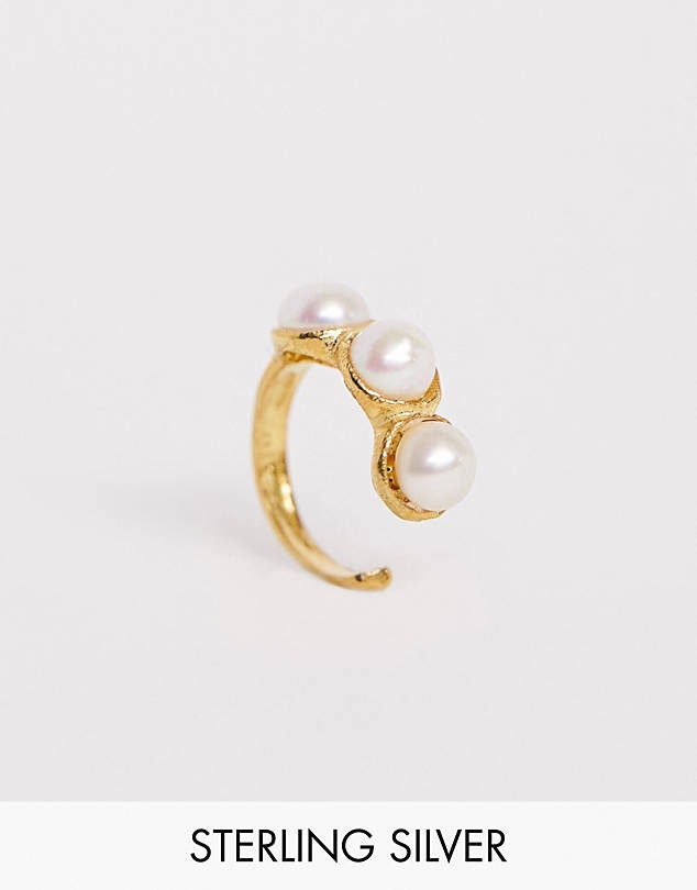ASOS DESIGN sterling silver with gold plate mix & match pearl ear cuff $13.00